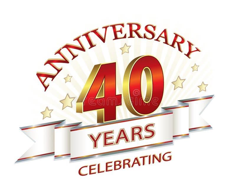 Carta di anniversario 40 anni illustrazione vettoriale