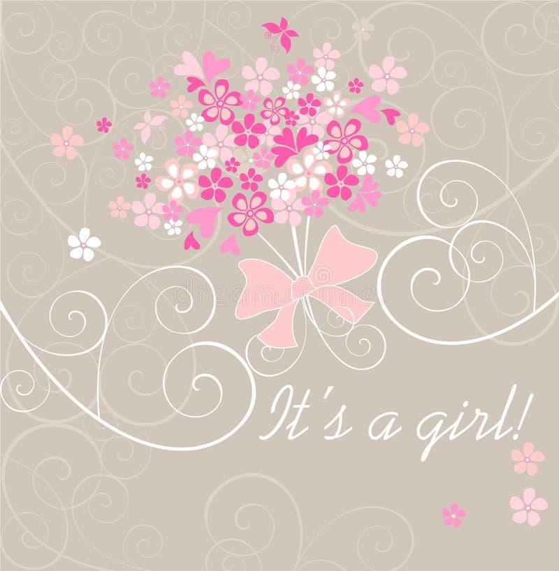 Carta di annuncio di arrivo della neonata con il mazzo rosa royalty illustrazione gratis