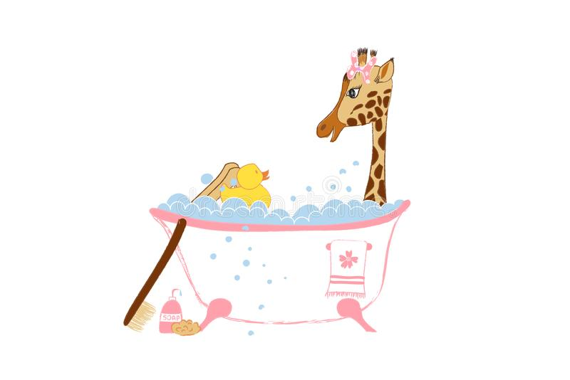 Carta di annuncio di arrivo della neonata con la piccola giraffa disegnata a mano sveglia nel bagno illustrazione di stock