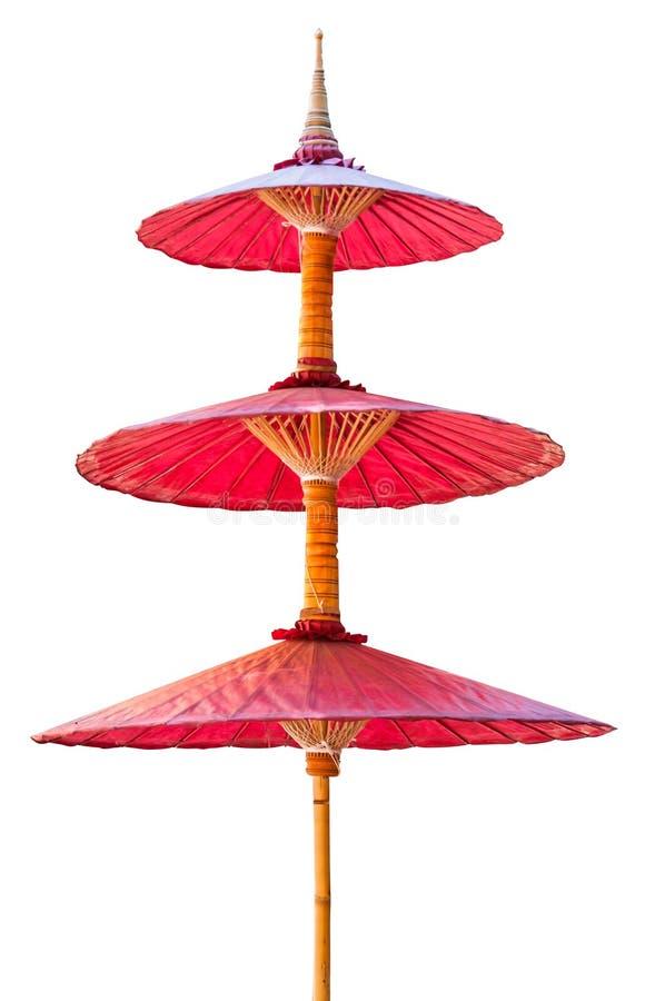 Carta di bambù del gelso dell'ombrello rosso tradizionale a nord della Tailandia immagini stock libere da diritti