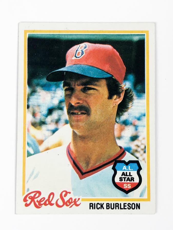 Carta 1978 di baseball di Topps dell'annata che caratterizza Rick Burleson immagini stock
