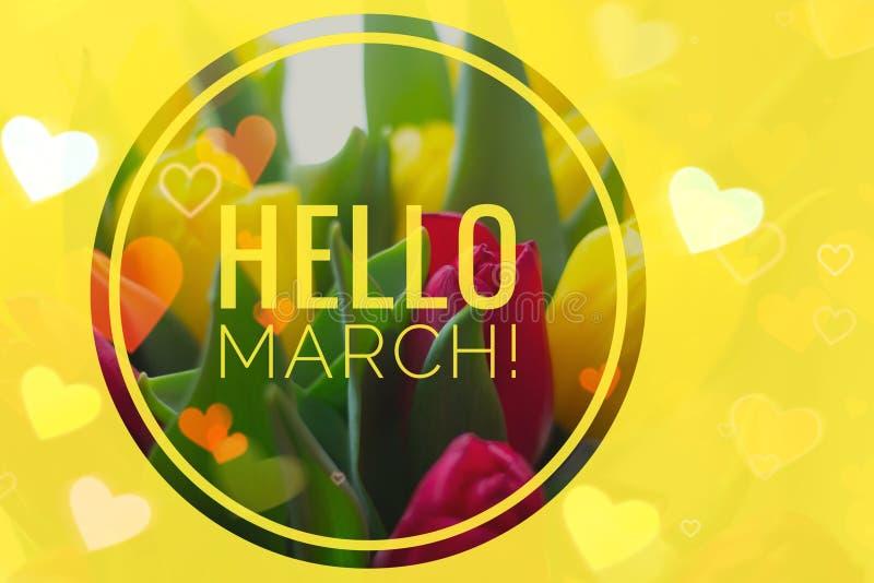 Carta di benvenuto del marzo della cartolina d'auguri ciao l'inizio della molla fotografia stock libera da diritti