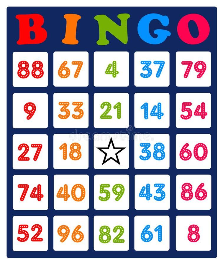 Carta di bingo illustrazione vettoriale