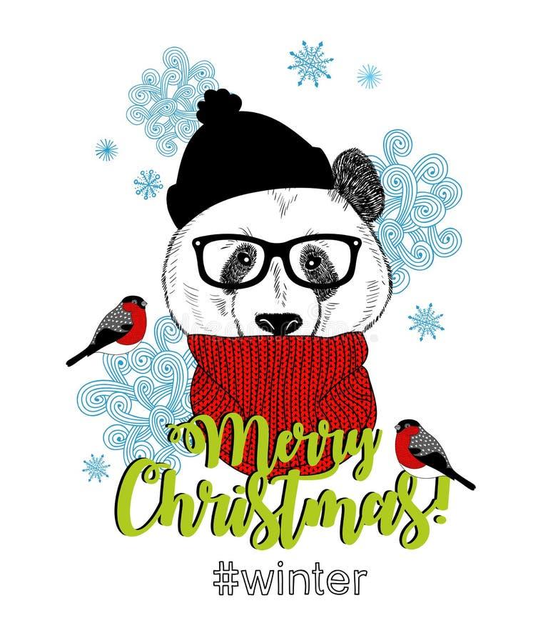 Carta di Buon Natale con l'animale divertente del panda nello stile moderno dei pantaloni a vita bassa illustrazione di stock
