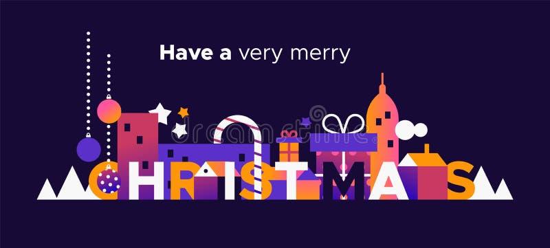 Carta di Buon Natale della città di vacanza invernale illustrazione vettoriale