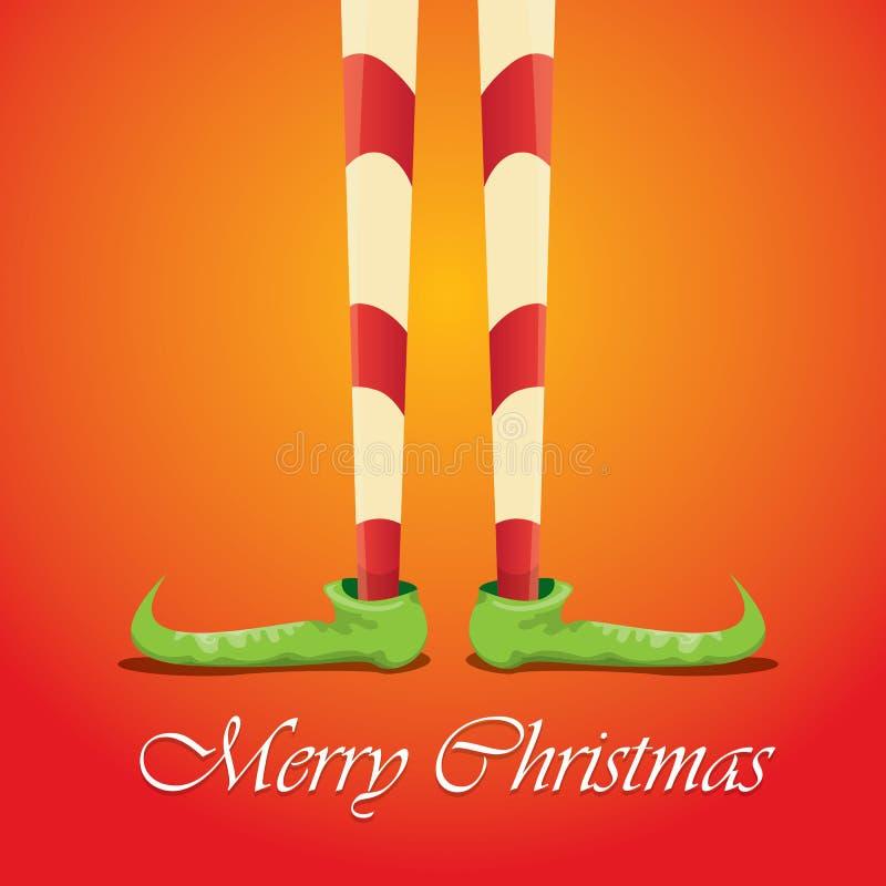 Carta di Buon Natale di vettore con le gambe dei elfs del fumetto illustrazione di stock