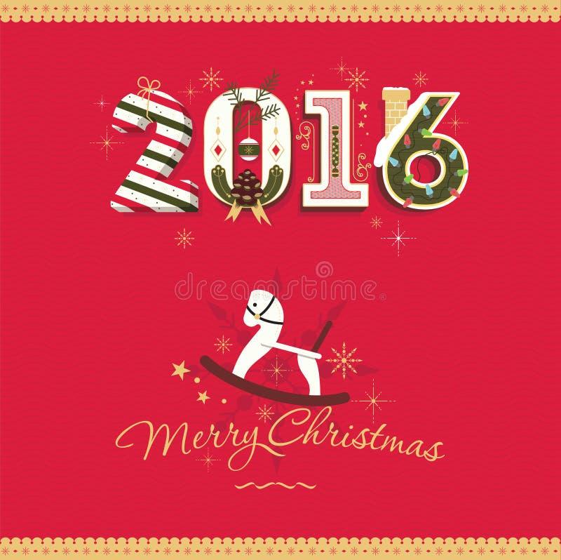 Carta 2016 di Buon Natale di vettore di congratulazione immagine stock