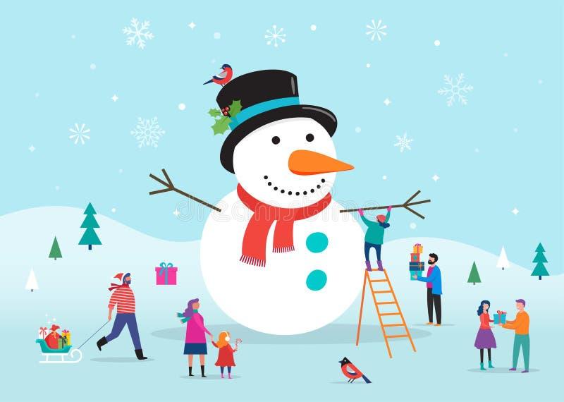 Carta di Buon Natale, fondo, bannner con un pupazzo di neve enorme e una piccola gente, giovani e donne, divertiresi delle famigl illustrazione di stock