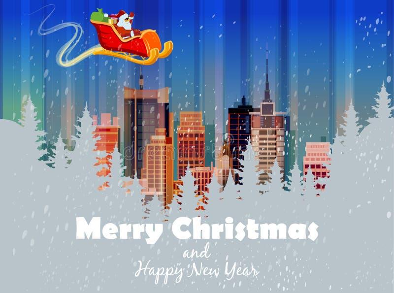 Carta di Buon Natale Illustrazione di vettore Nuovo anno felice illustrazione di stock