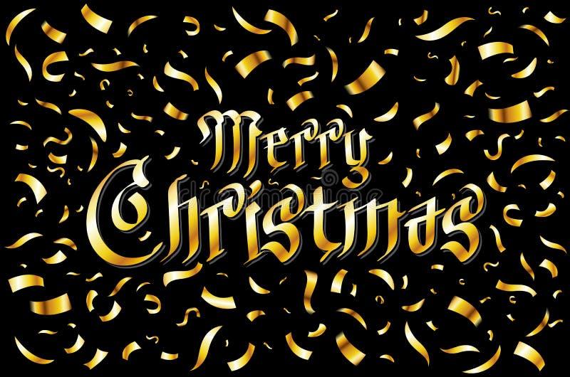 Carta di Buon Natale Modello dell'oro sopra fondo nero con i coriandoli dorati Illustrazione di vettore royalty illustrazione gratis