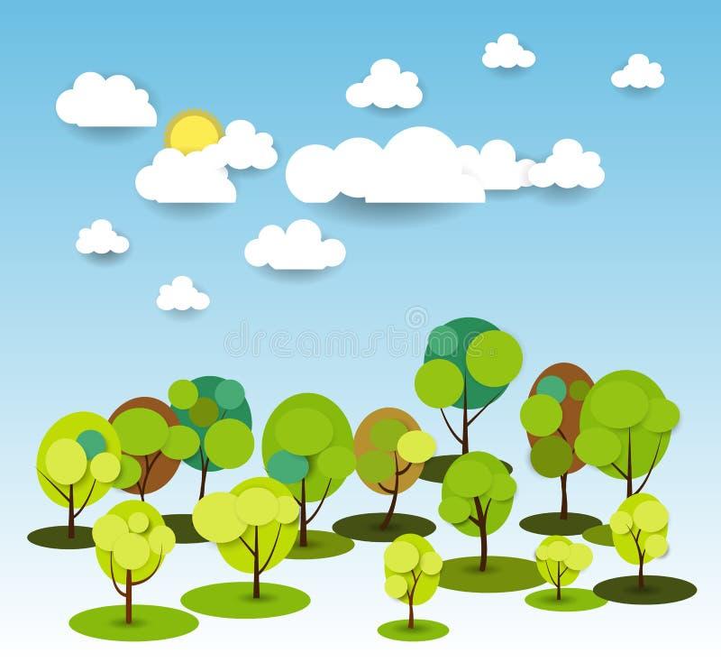 Carta di carta astratta della molla con la nuvola e l'albero del sole illustrazione di stock