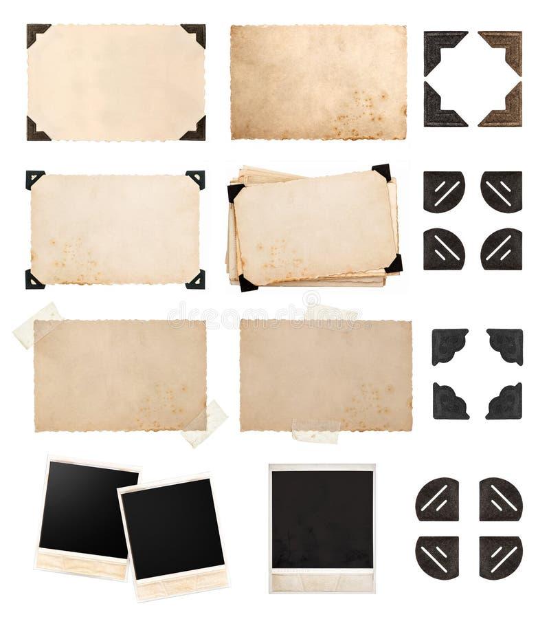 Carta di carta d'annata con gli angoli e nastri adesivi, cartone della foto fotografie stock libere da diritti