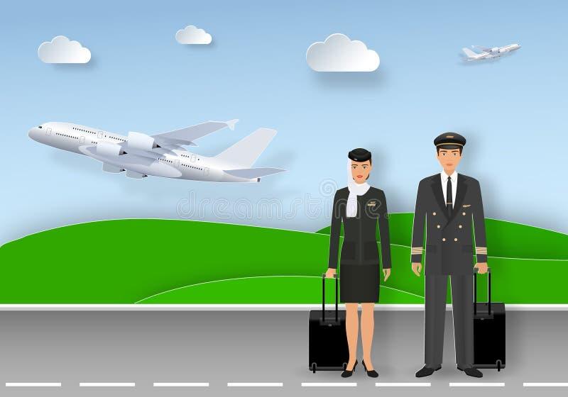 Carta di carta di arte con il pilota e l'hostess musulmani in uniforme e hijab che sta sulla pista dell'aeroporto royalty illustrazione gratis