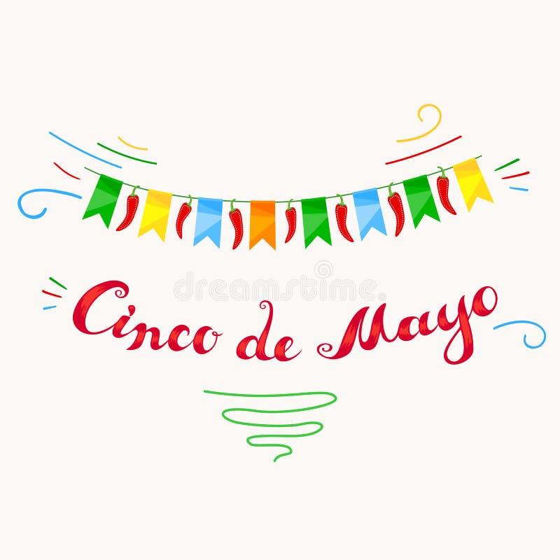Carta di Cinco De Mayo con iscrizione a mano libera illustrazione di stock