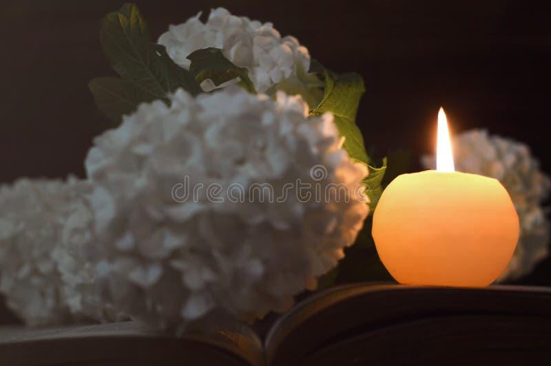 Carta di compassione con la candela commemorativa ed i fiori bianchi fotografia stock