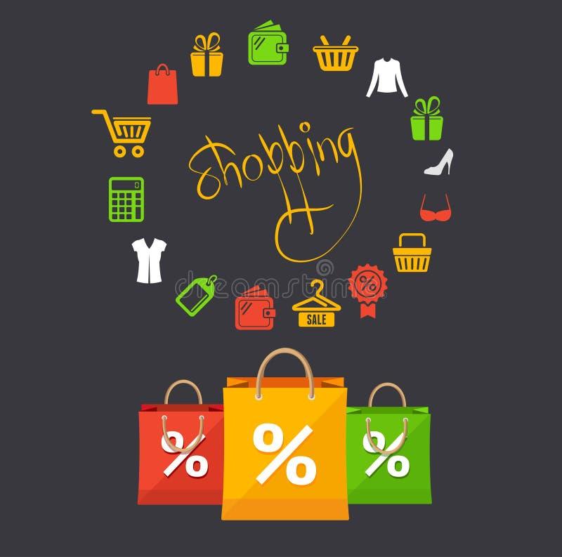 Carta di concetto di vendita dello shoppinng di vettore illustrazione vettoriale