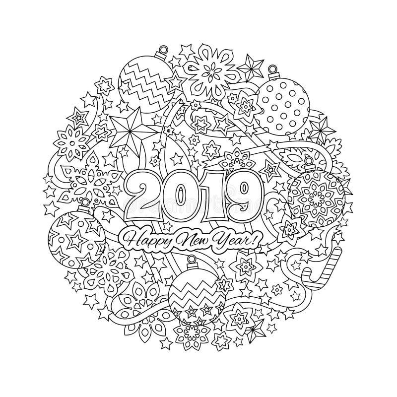 Carta di congratulazione del nuovo anno con i numeri 2018 sul fondo di vacanza invernale Mandala di Natale Libro da colorare Anti illustrazione di stock