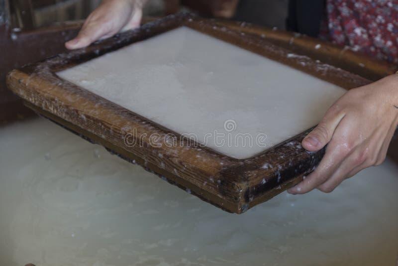 Carta di cotone fatta a mano fotografie stock