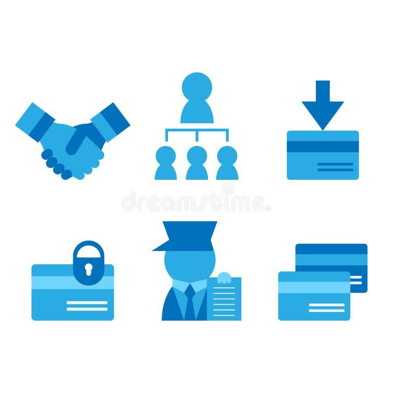 Carta di credito, biglietto da visita, icone piane di associazioni messe illustrazione di stock