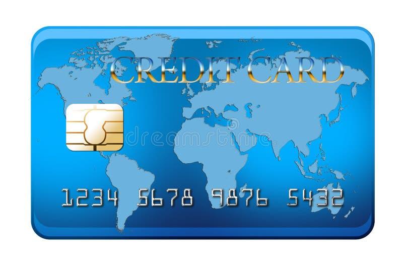 Carta di credito blu con il programma di mondo fotografia stock