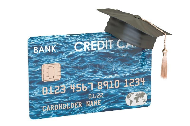 Carta di credito con il cappello di graduazione, rappresentazione 3D royalty illustrazione gratis