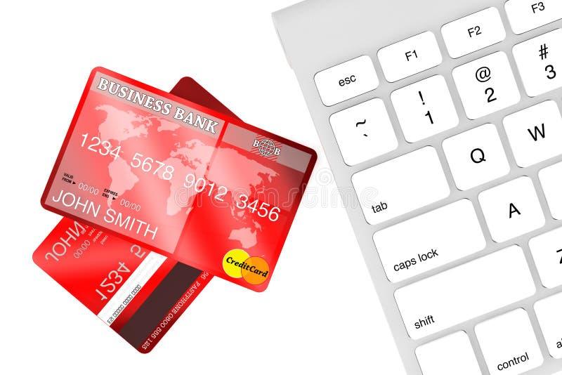Carta di credito con la tastiera di calcolatore illustrazione di stock