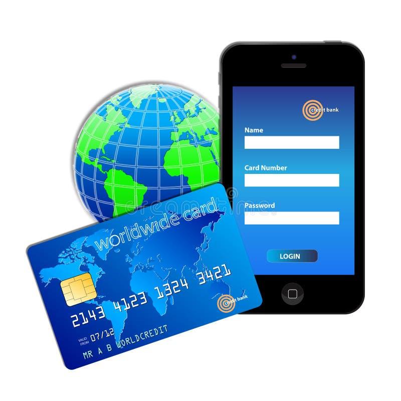 Carta di credito del mondo illustrazione vettoriale