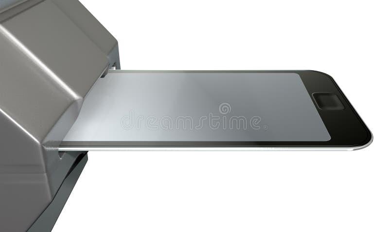Carta di credito del telefono cellulare nella scanalatura di pagamento immagine stock