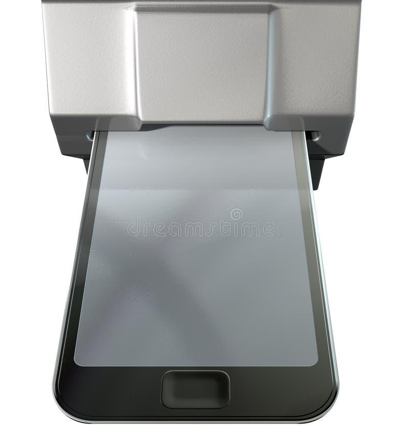 Carta di credito del telefono cellulare nella scanalatura di pagamento fotografia stock