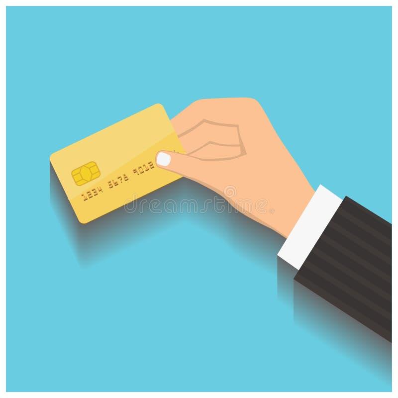 Carta di credito della tenuta della mano illustrazione vettoriale
