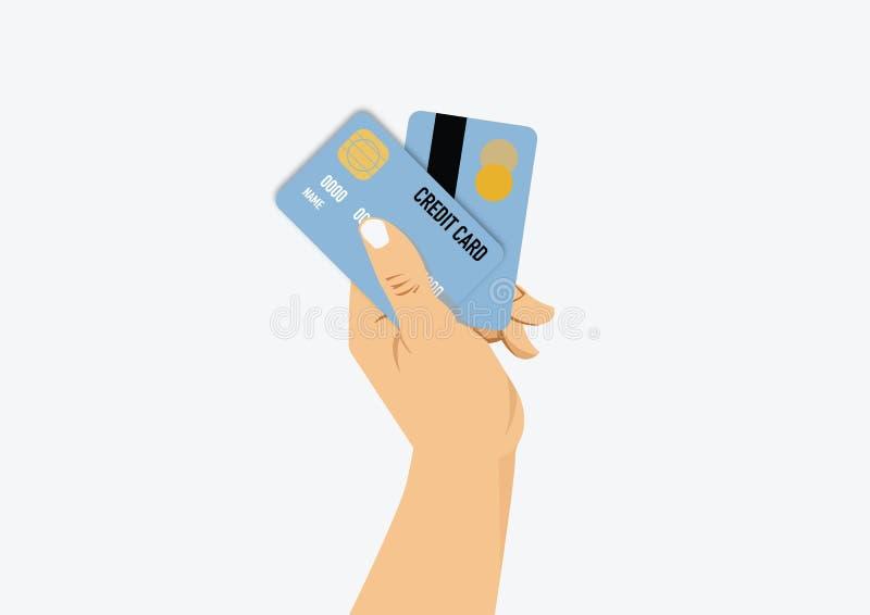 Carta di credito della tenuta della mano della donna illustrazione vettoriale