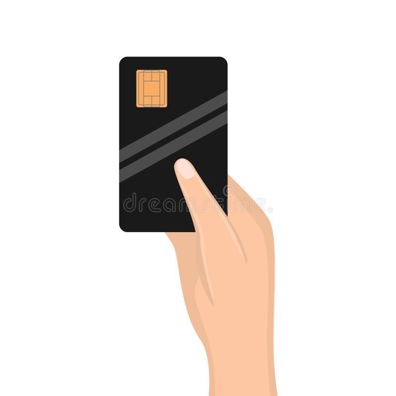 Carta di credito della tenuta della mano della donna Vettore illustrazione vettoriale