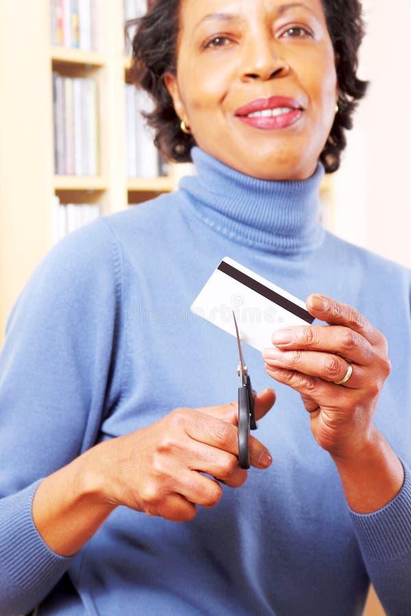Carta di credito di taglio immagini stock