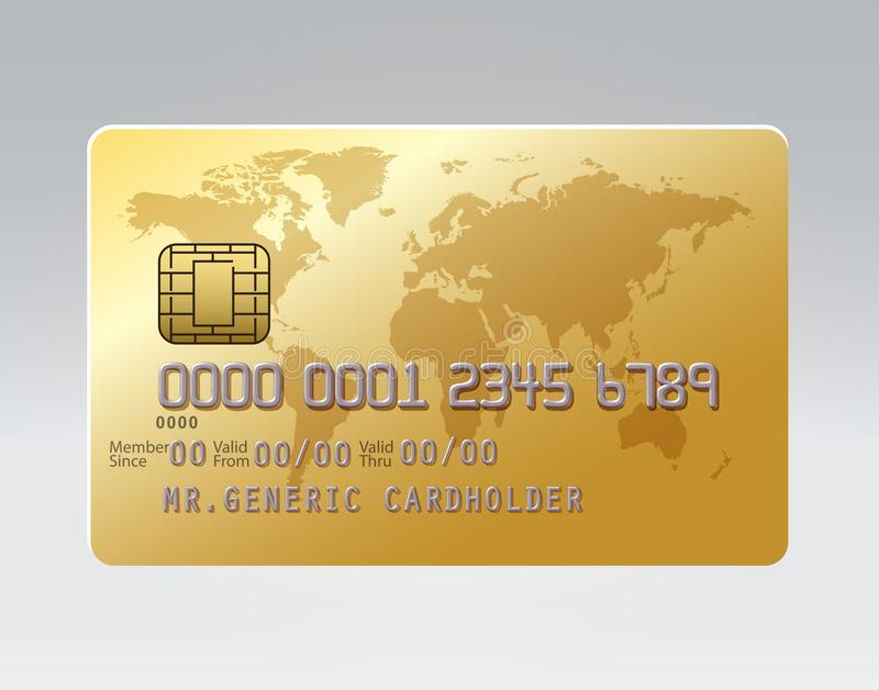 Carta di credito dorata di plastica realistica generica con il chip illustrazione vettoriale