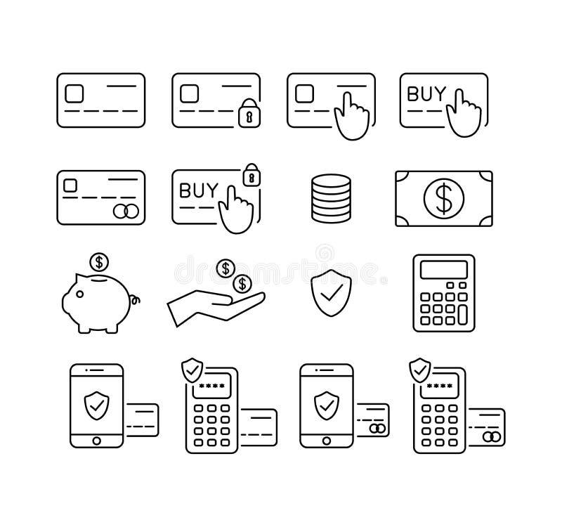 Carta di credito e dei soldi, insieme dell'icona della carta di debito Pagamento, transazioni ed icone di attività bancarie illustrazione vettoriale