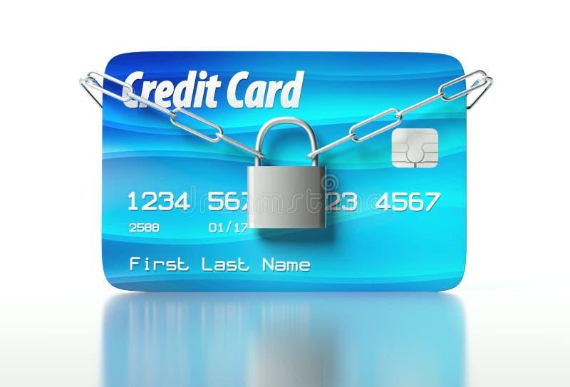 Carta di credito e lucchetto, concetto di obbligazione royalty illustrazione gratis