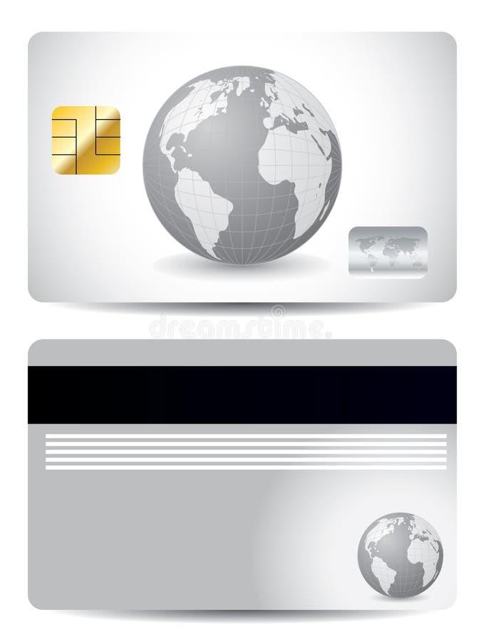 Carta di credito grigia del globo illustrazione vettoriale
