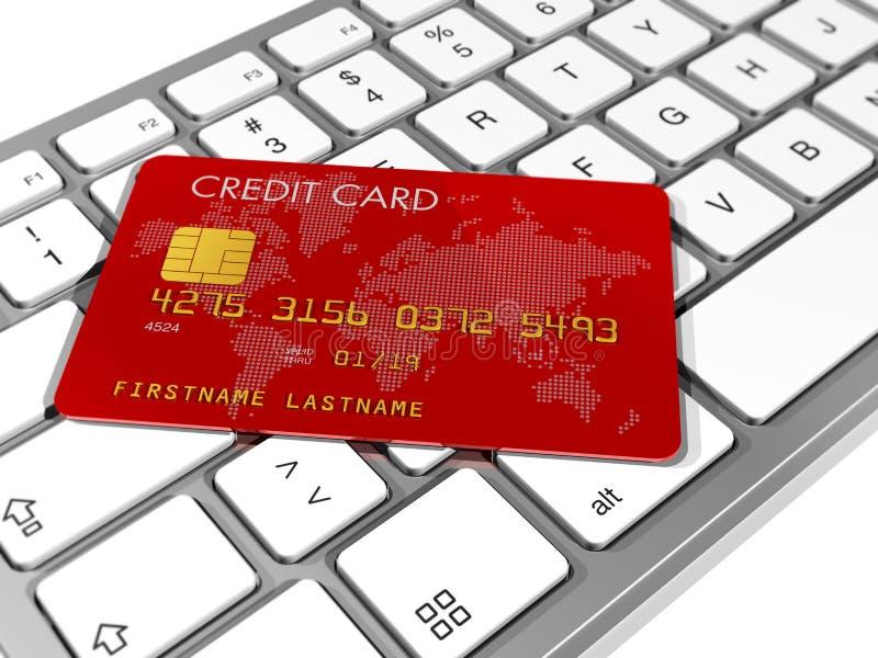 Carta di credito su una tastiera di calcolatore royalty illustrazione gratis