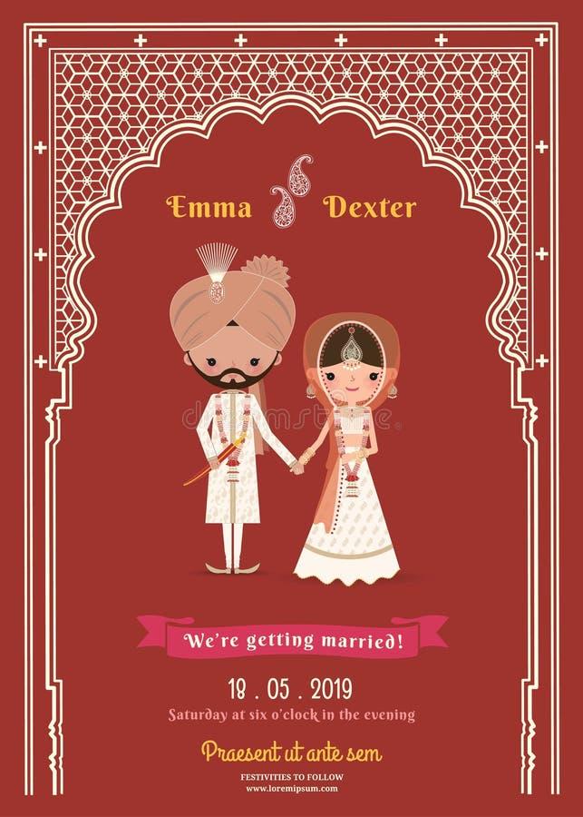 Carta di data indiana di Cartoon Save The della sposa & dello sposo di nozze royalty illustrazione gratis