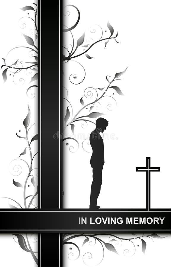 Carta di dolore nella memoria di amore con un uomo sugli elementi trasversali e floreali isolati su fondo bianco illustrazione di stock