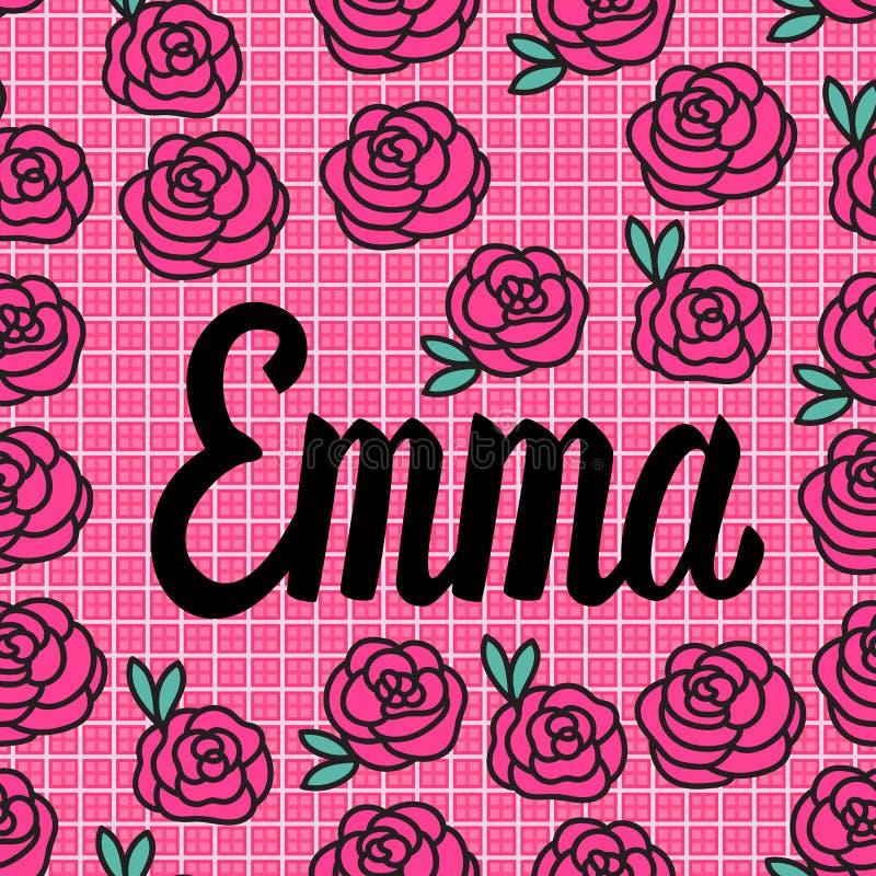Carta di Emma Name con le rose rosa adorabili Illustrazione di vettore illustrazione vettoriale