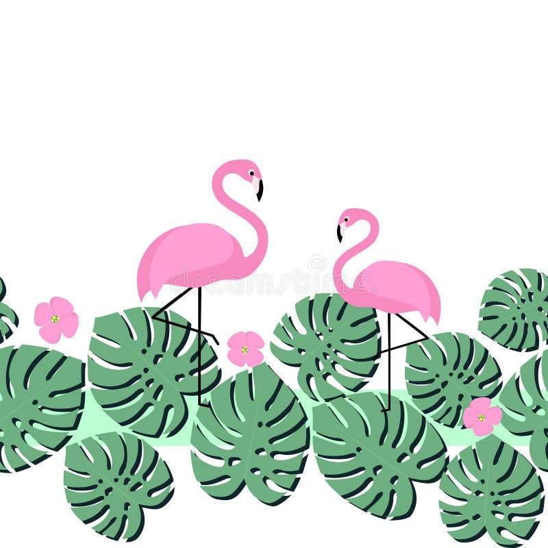 Carta di estate con le foglie di palma ed il fenicottero tropicali Progettazione senza cuciture del nastro illustrazione vettoriale