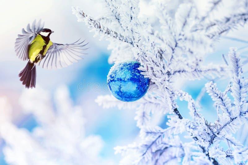 Carta di festa con gli sbattimenti del capezzolo dell'uccello che spandono le sue ali in w fotografie stock