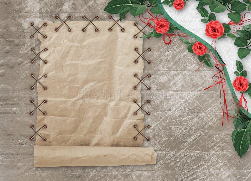 Carta di festa con le belle rose e un arco per una foto per l'invito fotografie stock libere da diritti