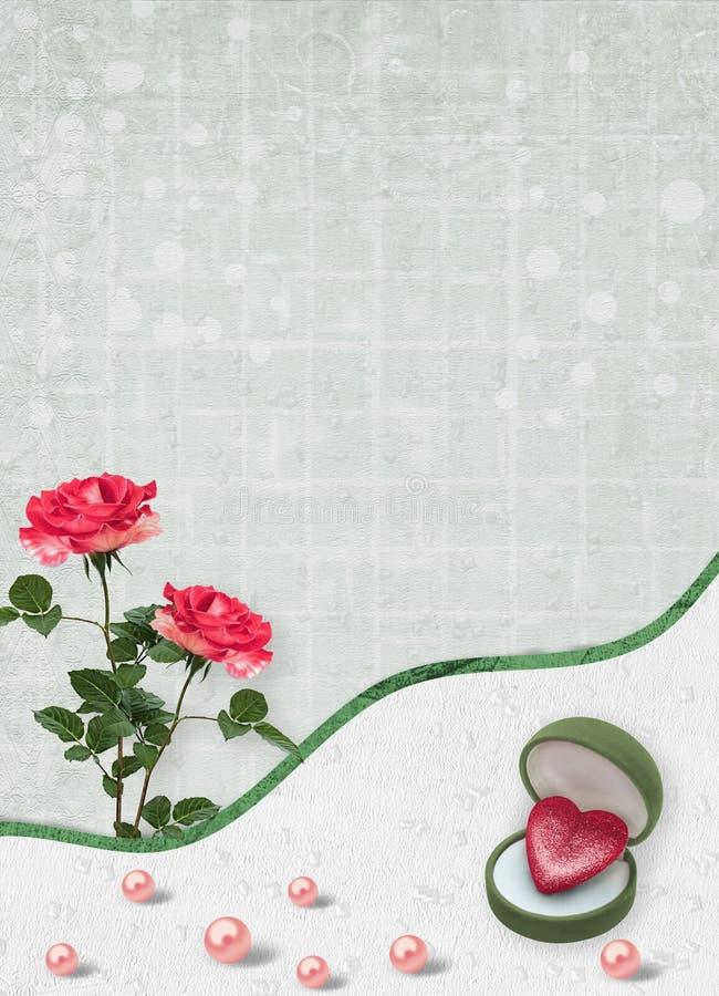 Carta di festa con le perle ed il mazzo di belle rose rosse sul fondo di Libro Verde immagini stock libere da diritti