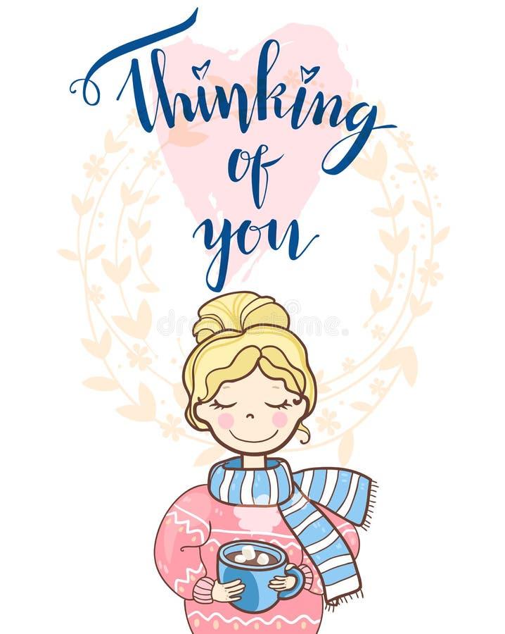 Carta di festa del biglietto di S. Valentino con la ragazza di sogno sveglia in maglione illustrazione vettoriale