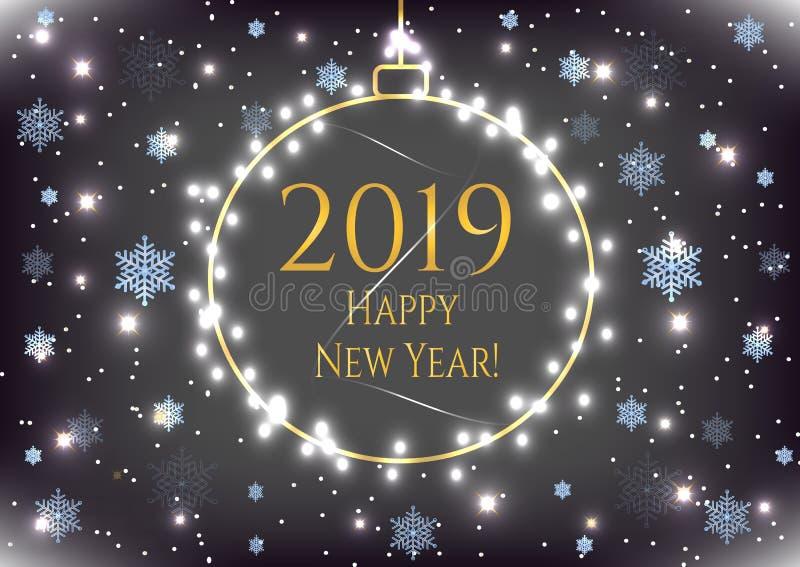 Carta di festa 2019 del nuovo anno con la palla di Natale dell'oro, fiocchi di neve blu Insegna di celebrazione di inverno, manif illustrazione di stock