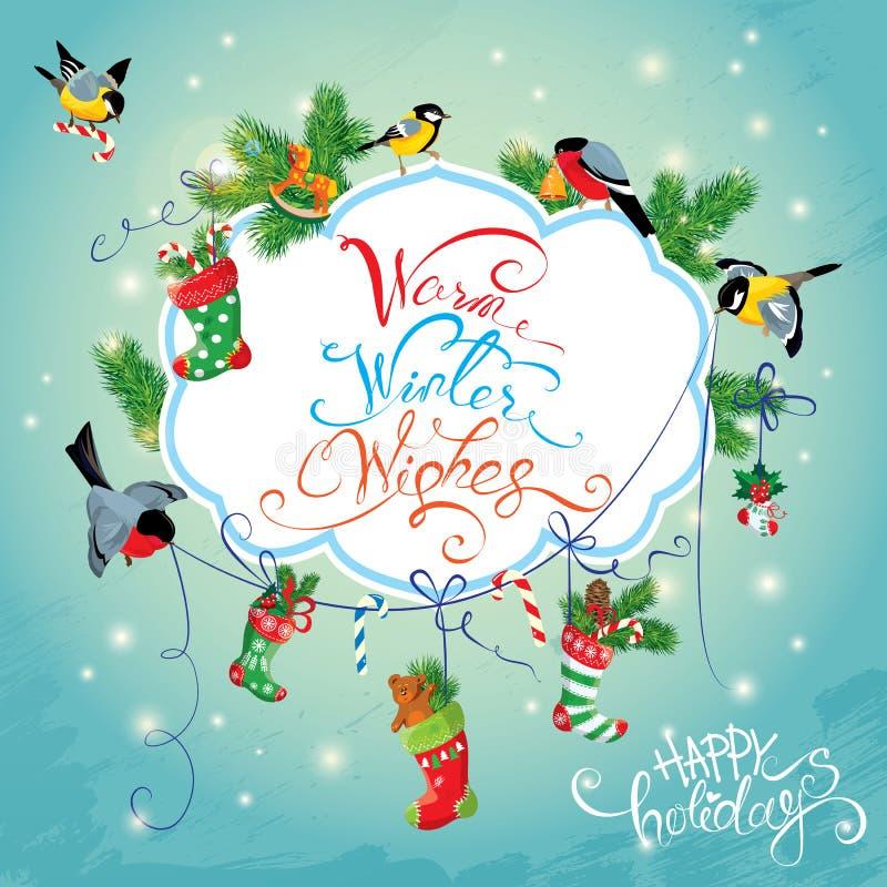 Carta di festa del nuovo anno e di natale con gli uccelli illustrazione vettoriale