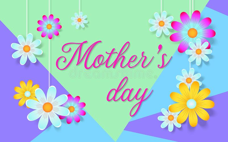 Carta di festa della mamma con i bei fiori illustrazione vettoriale