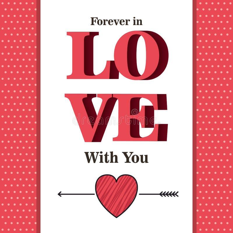 Carta di giorno di biglietti di S. Valentino con e parola di amore illustrazione di stock